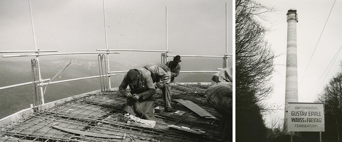 Bau des Turmschafts des Stuttgarter Fernsehturms im Jahr 1955.