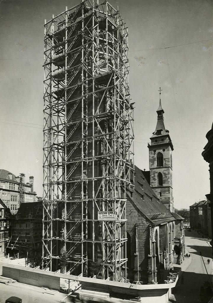 Wiederaufbau der Stiftskirche um 1954.