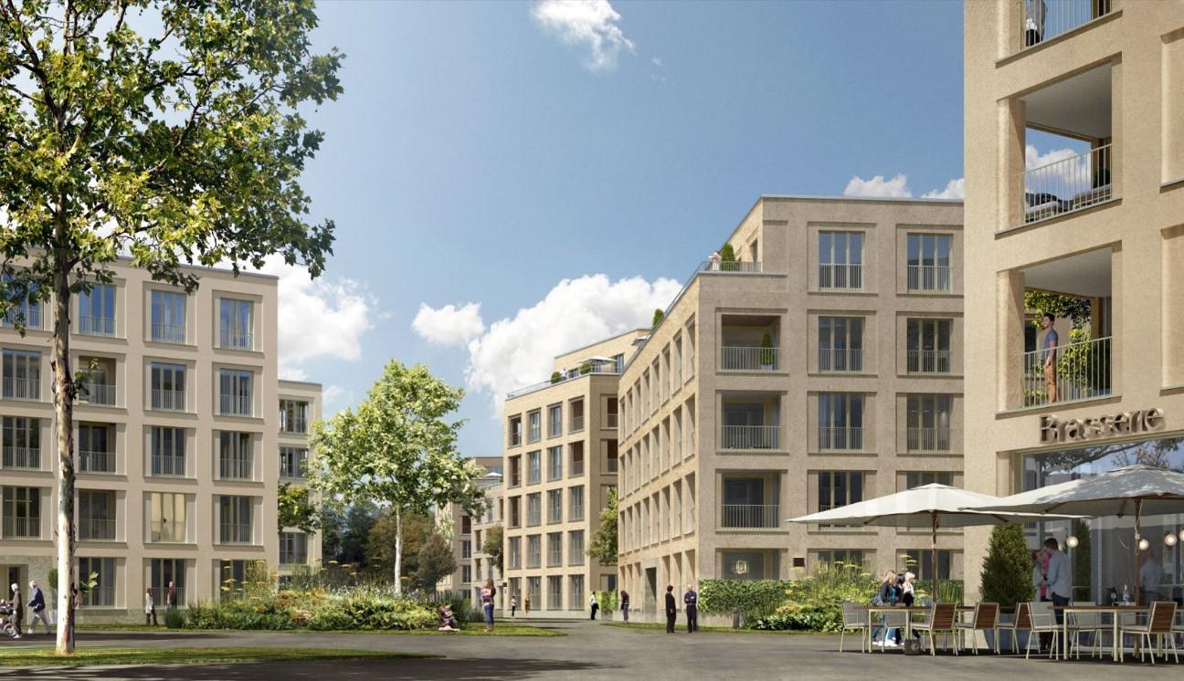 Das Quartier verfügt auch über ca. 300qm Gewerbeflächen für Büros oder Cafés.
